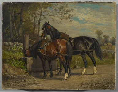 Nicholas Winfield Scott Leighton (American, 1847-1898). <em>Two Horses at a Wayside Trough</em>, 1883. Oil on canvas, 7 x 9 1/8 in. (17.8 x 23.2 cm). Brooklyn Museum, Gift of the executors of the Estate of Colonel Michael Friedsam, 32.834 (Photo: Brooklyn Museum, 32.834_PS2.jpg)