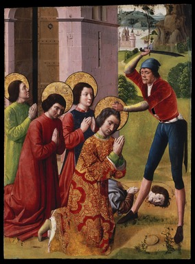 Northern French. <em>Martyrdom of Saints Cosmas and Damian with their Three Brothers, part of an altarpiece</em>, 1480s or 1490s. Oil on panel, 36 3/8 x 27 in. (92.4 x 68.6 cm). Brooklyn Museum, Gift of the executors of the Estate of Colonel Michael Friedsam, 32.840 (Photo: Brooklyn Museum, 32.840_SL1.jpg)