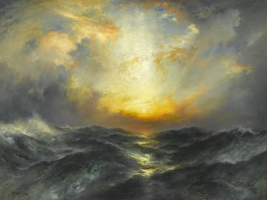 Thomas Moran (American, 1837-1926). <em>Sunset at Sea</em>, 1906. Oil on canvas, 30 3/16 x 40 3/16 in. (76.7 x 102.1 cm). Brooklyn Museum, Gift of the executors of the Estate of Colonel Michael Friedsam, 32.845 (Photo: Brooklyn Museum, 32.845_PS2.jpg)
