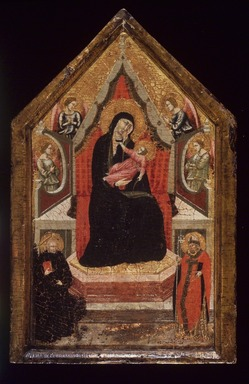 Italian (Aretine School). <em>Virgin and Child Enthroned with Saints Benedict and Donato (?) and Four Angels</em>, 1320-1330. Tempera and tooled gold on panel in an original engaged frame, 20 x 12 x 2 in. (50.8 x 30.5 x 5.1 cm). Brooklyn Museum, Gift of the executors of the Estate of Colonel Michael Friedsam, 32.856c (Photo: Brooklyn Museum, 32.856c.jpg)