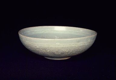 <em>Bowl</em>, 13th century. Porcelaneous stoneware with celadon glaze, Height: 2 7/16 in. (6.2 cm). Brooklyn Museum, Gift of the executors of the Estate of Colonel Michael Friedsam, 32.886. Creative Commons-BY (Photo: Brooklyn Museum, 32.886.jpg)