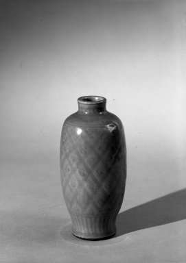 <em>Vase with Cover</em>, 1368-1644. High-fired green-ware (celadon), H: 6 7/8 in. (17.5 cm). Brooklyn Museum, Gift of the executors of the Estate of Colonel Michael Friedsam, 32.911a-b. Creative Commons-BY (Photo: Brooklyn Museum, 32.911a_bw.jpg)