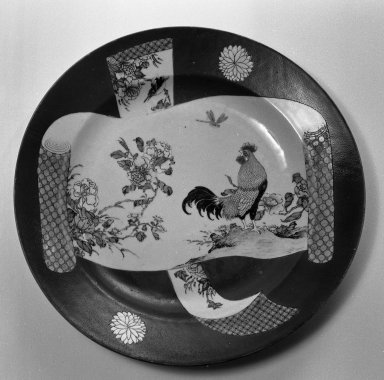 <em>Plate</em>, 1736-1795. Porcelain with overglaze enamels, 1 5/8 x 14 in. (4.2 x 35.5 cm). Brooklyn Museum, Gift of the executors of the Estate of Colonel Michael Friedsam, 32.930. Creative Commons-BY (Photo: Brooklyn Museum, 32.930_view1_bw.jpg)
