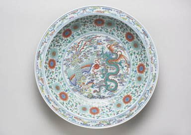 <em>Plate</em>, 1723-1735. Porcelain with overglaze enamel decoration, 3 1/4 × 18 in. (8.3 × 45.7 cm). Brooklyn Museum, Gift of the executors of the Estate of Colonel Michael Friedsam, 32.931a. Creative Commons-BY (Photo: , 32.931a_PS11.jpg)