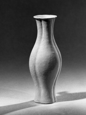 <em>Small Vase, Slender Ovoid Body</em>, 18th century. Porcelain, glaze, 4 13/16 x 1 15/16 in. (12.2 x 5 cm). Brooklyn Museum, Gift of the executors of the Estate of Colonel Michael Friedsam, 32.941. Creative Commons-BY (Photo: Brooklyn Museum, 32.941_acetate_bw.jpg)