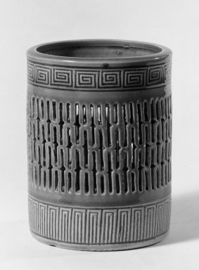 <em>Brush Jar</em>, 18th century. Porcelain with turquoise glaze, 4 3/4 x 3 5/8 in. (12.1 x 9.2 cm). Brooklyn Museum, Gift of the executors of the Estate of Colonel Michael Friedsam, 32.958. Creative Commons-BY (Photo: Brooklyn Museum, 32.958_acetate_bw.jpg)