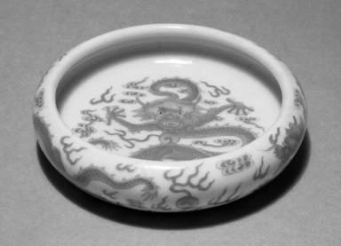<em>Shallow Bowl</em>, 1821-1850. Porcelain, enamel, 1 x 3 3/4 in. (2.5 x 9.5 cm). Brooklyn Museum, Gift of the executors of the Estate of Colonel Michael Friedsam, 32.959. Creative Commons-BY (Photo: Brooklyn Museum, 32.959_bw.jpg)