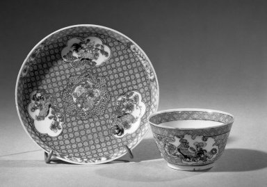 <em>Cup and Saucer</em>, 1723-1735. Porcelain with famille rose decoration, A: 1 1/2 x 2 3/4 in. (3.8 x 7 cm). Brooklyn Museum, Gift of the executors of the Estate of Colonel Michael Friedsam, 32.973a-b. Creative Commons-BY (Photo: Brooklyn Museum, 32.973a-b_acetate_bw.jpg)