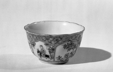 <em>Cup and Saucer</em>, 1723-1735. Porcelain with famille rose decoration, Saucer: 13/16 x 4 1/2 in. (2 x 11.4 cm). Brooklyn Museum, Gift of the executors of the Estate of Colonel Michael Friedsam, 32.978a-b. Creative Commons-BY (Photo: Brooklyn Museum, 32.978a_acetate_bw.jpg)