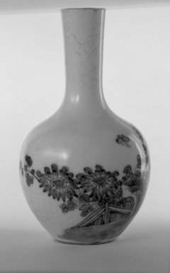 <em>Vase</em>, 1662-1722. Porcelain with cobalt-blue underglaze decoration (roasted blue-and-white), 5 3/8 x 3 1/8 in. (13.6 x 8 cm). Brooklyn Museum, Gift of the executors of the Estate of Colonel Michael Friedsam, 32.981. Creative Commons-BY (Photo: Brooklyn Museum, 32.981_bw.jpg)