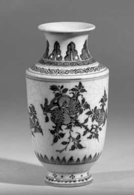 <em>Vase</em>, 1662-1922. Porcelain with cobalt-blue underglaze decoration (roasted blue-and-white), 4 13/16 x 2 9/16 in. (12.3 x 6.5 cm). Brooklyn Museum, Gift of the executors of the Estate of Colonel Michael Friedsam, 32.985. Creative Commons-BY (Photo: Brooklyn Museum, 32.985_acetate_bw.jpg)