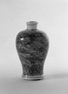 <em>Miniature Vase of Baluster Shape</em>, 1821-1850. Porcelain, blue underglaze, 2 3/16 x 1 3/8 in. (5.6 x 3.5 cm). Brooklyn Museum, Gift of the executors of the Estate of Colonel Michael Friedsam, 32.991. Creative Commons-BY (Photo: Brooklyn Museum, 32.991_bw.jpg)