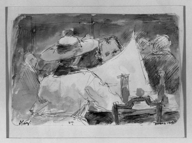 David Caz-Delbo. <em>In the Cafe</em>, 1903. Watercolor, 4 5/16 x 6 1/2 in.  (11.0 x 16.5 cm). Brooklyn Museum, Gift of Mrs. Milton Horn, 33.140 (Photo: Brooklyn Museum, 33.140_acetate_bw.jpg)