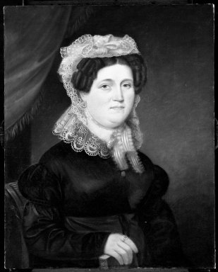 John Paradise (American, 1783-1833). <em>Mrs. John Baltic Gassner</em>, 1827. Oil on canvas, 29 15/16 x 24 in. (76 x 61 cm). Brooklyn Museum, Bequest of George H. Betts, 33.143 (Photo: Brooklyn Museum, 33.143_after_treatment_bw.jpg)