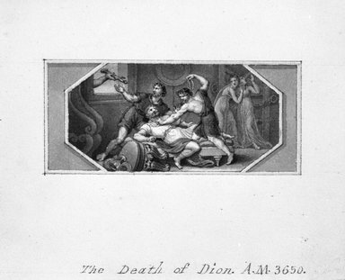 Edward Francis Burney (British, 1760-1848). <em>Death of Dion</em>, 18th century. Pen and india ink and sepia wash on wove paper, Sheet: 3 1/8 x 4 1/2 in. (7.9 x 11.4 cm). Brooklyn Museum, Gift of Spencer Bickerton, 33.146 (Photo: Brooklyn Museum, 33.146_bw.jpg)