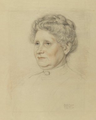 Albert Sterner (American, 1863-1946). <em>Portrait of Mrs. Henry Walther</em>, April 1913. Graphite and colored chalk (Sanguine) on paper, sheet: 17 7/8 x 14 3/8 in. (45.4 x 36.5 cm). Brooklyn Museum, Gift of Marie Sterner Lintott, 33.148 (Photo: Brooklyn Museum, 33.148_IMLS_PS3.jpg)