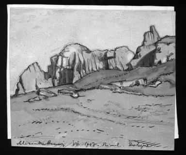 Alexandre Nikolaevic Benois (Russian, 1870-1960). <em>Rioul, Bretagne</em>, 1905. Watercolor, 4 5/16 x 5 1/8 in. (11 x 13 cm). Brooklyn Museum, Gift of Edward Barnard Lintott, 33.151 (Photo: Brooklyn Museum, 33.151_bw.jpg)