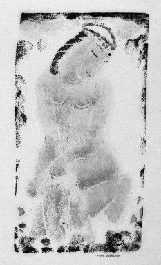 Max Weber (American, born Russia, 1881-1961). <em>Nude</em>, n.d. Woodcut printed in color, 5 1/4 x 2 7/8 in. (13.4 x 7.3 cm). Brooklyn Museum, Frank Sherman Benson Fund, 33.157 (Photo: Brooklyn Museum, 33.157_bw.jpg)