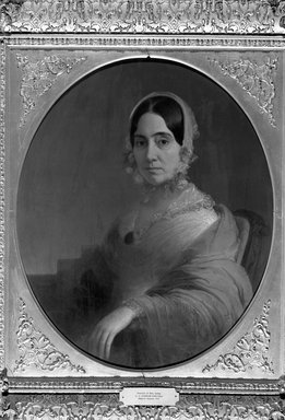 Charles Cromwell Ingham (American, 1796-1863). <em>Mrs. Theodore Camp</em>, ca. 1845. Oil on canvas, 29 15/16 x 24 15/16 in. (76 x 63.3 cm). Brooklyn Museum, Bequest of Augusta A. Baldwin, 33.16.1 (Photo: Brooklyn Museum, 33.16.1_acetate_bw.jpg)