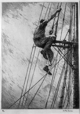 Arthur John Trevor Briscoe (British, 1873-1943). <em>Mizzen Topmast Crosstrees</em>, ca. 1932. Etching on laid paper, Plate: 13 7/8 x 13 7/8 in. (35.2 x 35.2 cm). Brooklyn Museum, A. Augustus Healy Fund, 33.165 (Photo: Brooklyn Museum, 33.165_glass_bw.jpg)