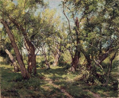 Hugh Bolton Jones (American, 1848-1927). <em>The Willows</em>, ca. 1900. Oil on canvas, 29 15/16 x 36 in. (76.1 x 91.5 cm). Brooklyn Museum, Gift of Mrs. F.Y. Chubb, 33.183 (Photo: Brooklyn Museum, 33.183_transp1120.jpg)