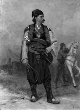 Benoni Irwin (Canadian, 1840-1896). <em>Bulgarian Chief</em>, 1879. Oil on canvas, 32 x 23 1/2 in.  (81.3 x 59.7 cm). Brooklyn Museum, Bequest of Mrs. J. C. Shaw in memory of her father, Dr. Charles D. Cook, 33.184 (Photo: Brooklyn Museum, 33.184_cropped_bw.jpg)