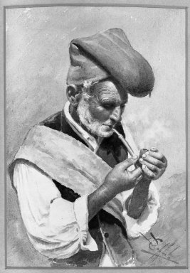 D. Coppola. <em>The Fisherman</em>, 19th century. Watercolor, 7 1/2 x 10 3/4 in.  (19.1 x 27.3 cm). Brooklyn Museum, Bequest of Mrs. J. C. Shaw in memory of her father, Dr. Charles D. Cook, 33.185 (Photo: Brooklyn Museum, 33.185_acetate_bw.jpg)
