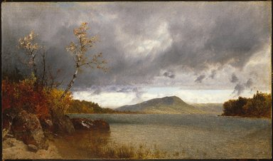 John Frederick Kensett (American, 1816-1872). <em>Lake George</em>, 1870. Oil on canvas, frame: 26 x 36 1/8 x 4 1/2 in. (66 x 91.8 x 11.4 cm). Brooklyn Museum, Gift of Mrs. W. W. Phelps in memory of her mother and father, Ella M. and John C. Southwick, 33.219 (Photo: Brooklyn Museum, 33.219_SL1.jpg)