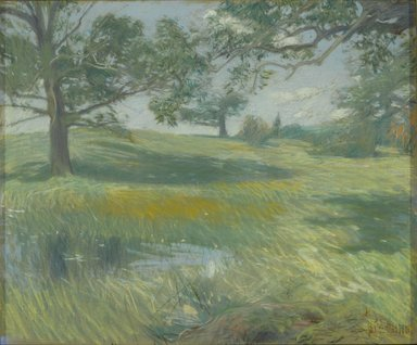 Frederick Childe Hassam (American, 1859-1935). <em>Meadows</em>, ca. 1900-1910. Pastel on commercially pre-primed canvas, with hand-applied colored ground, attached to a wooden strectcher, 20 x 24 in. (50.8 x 61 cm). Brooklyn Museum, Gift of Mrs. Henry Wolf, Austin M. Wolf, and Hamilton A. Wolf, 33.23 (Photo: Brooklyn Museum, 33.23_PS2.jpg)