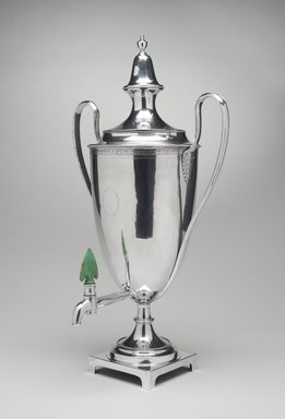 American. <em>Hot Water Urn</em>, 1800. Silver, bone or ivory, pigment, Lid and body together: 18 3/4 × 10 1/2 × 8 1/2 in. (47.6 × 26.7 × 21.6 cm). Brooklyn Museum, George C. Brackett Fund, 33.244. Creative Commons-BY (Photo: Brooklyn Museum, 33.244_threequarter_PS11.jpg)