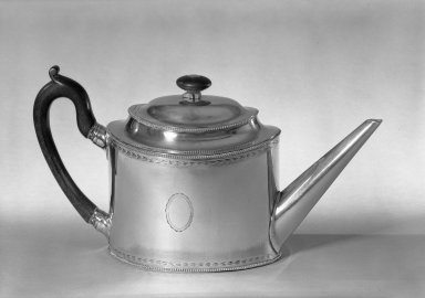 Chinese. <em>Teapot</em>, ca.1880. Silver, 6 x 11 1/2 x 4 in. (15.2 x 29.2 x 10.2 cm). Brooklyn Museum, George C. Brackett Fund, 33.246. Creative Commons-BY (Photo: Brooklyn Museum, 33.246_acetate_bw.jpg)