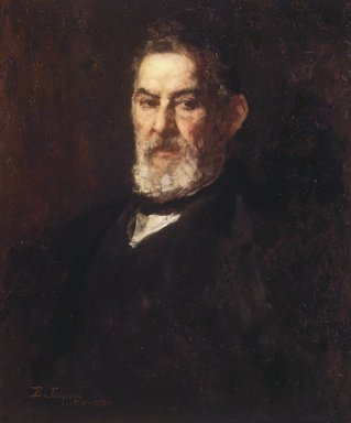 Eastman Johnson (American, 1824-1906). <em>Captain Folger of Nantucket</em>, 1880. Oil on woodpulp paperboard, 26 3/16 x 22 3/16 in. (66.5 x 56.3 cm). Brooklyn Museum, Gift of Mrs. Henry Wolf, Austin M. Wolf, and Hamilton A. Wolf, 33.25 (Photo: Brooklyn Museum, 33.25.jpg)