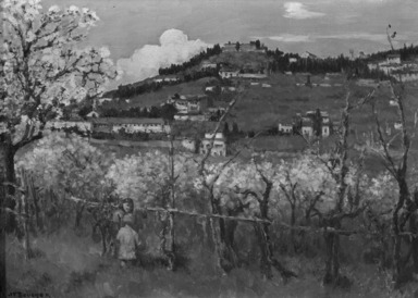 Joseph Félix Bouchor (French, 1853-1937). <em>View of the Hill, Fiesole (Vue du Coteau, Fiesole)</em>, n.d. Oil on canvas, 13 3/8 x 18 5/16 in. (34 x 46.5 cm). Brooklyn Museum, Bequest of Alfred W. Jenkins, 33.255 (Photo: Brooklyn Museum, 33.255_cropped_bw.jpg)