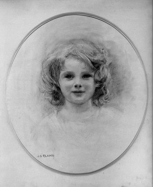John Shenton Eland (British, 1872-1933). <em>Portrait of a Child</em>. Pastel, 17 x 15 in.  (43.2 x 38.1 cm). Brooklyn Museum, Gift of Mrs. John S. Eland, 33.260.4 (Photo: Brooklyn Museum, 33.260.4_acetate_bw.jpg)