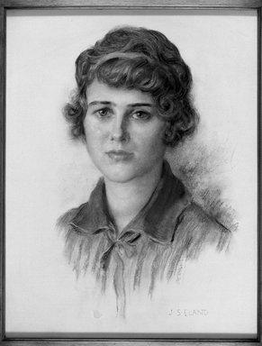 John Shenton Eland (British, 1872-1933). <em>Head of a Girl (Blue Bandeau)</em>. Chalk Brooklyn Museum, Gift of Mrs. John S. Eland, 33.260.5 (Photo: Brooklyn Museum, 33.260.5_acetate_bw.jpg)