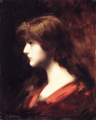 Jean Jacques Henner (French, 1829-1905). <em>Head of a Girl</em>, 19th century. Oil on canvas, canvas: 16 x 12 3/4 in. (40.6 x 32.4 cm). Brooklyn Museum, Gift of Cornelia E. and Jennie A. Donnellon, 33.269 (Photo: Brooklyn Museum, 33.269_transp6105.jpg)