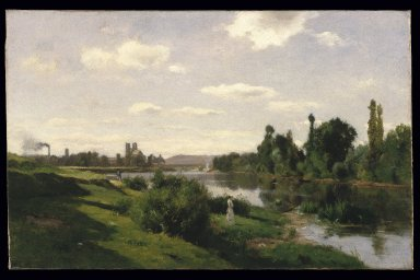 Charles-François Daubigny (French, 1817-1878). <em>The River Seine at Mantes</em>, ca. 1856. Oil on canvas, 19 1/16 x 29 3/4 in. (48.4 x 75.6 cm). Brooklyn Museum, Gift of Cornelia E. and Jennie A. Donnellon, 33.271 (Photo: Brooklyn Museum, 33.271_SL1.jpg)