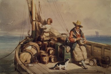 Auguste Delacroix (French, 1809-1868). <em>Two Figures on a Boat</em>, 1843. Watercolor on wove paper, 5 5/16 x 8 in. (13.5 x 20.3 cm). Brooklyn Museum, Gift of Cornelia E. and Jennie A. Donnellon, 33.280 (Photo: Brooklyn Museum, 33.280.jpg)