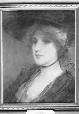 George H. Boughton (American, 1833-1905). <em>Head of a Woman</em>. Pastel on paperboard, 16 5/8 x 12 15/16 in. (42.2 x 32.9 cm). Brooklyn Museum, Gift of Cornelia E. and Jennie A. Donnellon, 33.282 (Photo: Brooklyn Museum, 33.282_acetate_bw.jpg)