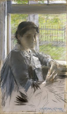 William Merritt Chase (American, 1849-1916). <em>At the Window</em>, ca. 1889. Pastel on hand-applied gray ground, on commercially pre-printed canvas attached to a wooden stretcher, 18 3/8 x 10 7/8 in. (46.7 x 27.6 cm). Brooklyn Museum, Gift of Mrs. Henry Wolf, Austin M. Wolf, and Hamilton A. Wolf, 33.28 (Photo: Brooklyn Museum, 33.28_reference_SL1.jpg)