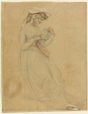 Edward Francis Burney (British, 1760-1848). <em>Portrait of Fanny Burney d'Arblay</em>, n.d. Graphite and color crayons on wove paper, 9 7/16 x 7 1/4 in. (24 x 18.4 cm). Brooklyn Museum, Carll H. de Silver Fund, 33.293 (Photo: Brooklyn Museum, 33.293_PS1.jpg)
