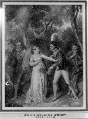 John William Wright (British, 1802-1848). <em>Shakespearian Subject</em>. Wash drawing, 6 3/8 x 4 7/8 in. (16.2 x 12.4 cm). Brooklyn Museum, Carll H. de Silver Fund, 33.297 (Photo: Brooklyn Museum, 33.297_glass_bw.jpg)