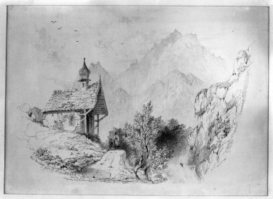 John Ruskin (British, 1819-1900). <em>Saint Gothard Pass, Near Amsteg</em>, 1835. Ink on paper, 10 5/8 x 14 5/8 in. (27 x 37.1 cm). Brooklyn Museum, Frederick Loeser Fund, 33.300 (Photo: Brooklyn Museum, 33.300_glass_bw.jpg)