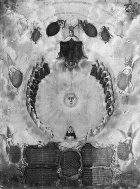 Unknown. <em>Sketch for Ceiling Decoration</em>, 17th century. Oil on canvas, 46 x 35 1/2 in. (116.8 x 90.2 cm). Brooklyn Museum, Gift of Mrs. Henry Wolf, Austin M. Wolf, and Hamilton A. Wolf, 33.32 (Photo: Brooklyn Museum, 33.32_acetate_bw.jpg)