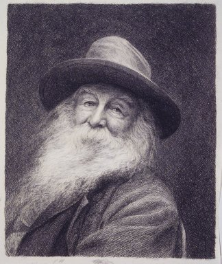 Thomas Johnson (American, born England, 1843-1904). <em>Walt Whitman</em>, ca. 1890. Etching, drypoint, on white wove paper, Plate: 11 15/16 x 9 in. (30.3 x 22.8 cm). Brooklyn Museum, Gift of Spencer Bickerton, 33.338 (Photo: Brooklyn Museum, 33.338_transp6200.jpg)