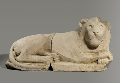 <em>Recumbent Lion</em>, 305-30 B.C.E. Limestone, 13 3/4 x 11 x 27 3/8 in., 144 lb. (35 x 28 x 69.5 cm, 65.32kg). Brooklyn Museum, Charles Edwin Wilbour Fund, 33.382a-b. Creative Commons-BY (Photo: Brooklyn Museum, 33.382a-b_PS9.jpg)