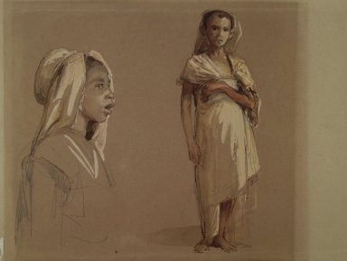 Isidore-Alexandre-Augustin Pils (French, 1813-1875). <em>Kabyle Children (Enfants Kabyles)</em>, 1860s. Graphite and opaque watercolor on brown wove paper, Image: 9 1/2 × 9 7/16 in. (24.1 × 24 cm). Brooklyn Museum, Gift of Mrs. Henry Wolf, Austin M. Wolf, and Hamilton A. Wolf, 33.39 (Photo: Brooklyn Museum, 33.39.jpg)