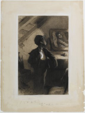 "Edward Henry Potthast (American, 1857-1927). <em>Illustration for ""George Washington Jones: A Christmas Gift That Went A-Begging,""</em> 1903. Watercolor, charcoal and white crayon on cream, medium-weight, slightly textured wove paper., Sheet: 19 3/4 x 14 13/16 in. (50.2 x 37.6 cm). Brooklyn Museum, Peter F. Schofield Fund, 33.392 (Photo: Brooklyn Museum, 33.392_PS1.jpg)"