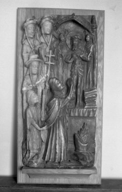 English. <em>Communion of Saint Gregory</em>, 15th century. Alabaster, 26 x 13 x 3 3/4 in. (66 x 33 x 9.5 cm). Brooklyn Museum, Charles Stewart Smith Memorial Fund, 33.393. Creative Commons-BY (Photo: Brooklyn Museum, 33.393_view1_acetate_bw.jpg)