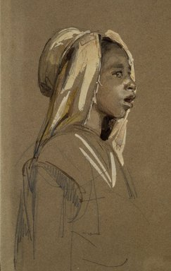 Isidore-Alexandre-Augustin Pils (French, 1813-1875). <em>Kabyle Children (Enfants Kabyles)</em>, 1860s. Graphite and opaque watercolor on brown wove paper, Image: 9 1/2 × 9 7/16 in. (24.1 × 24 cm). Brooklyn Museum, Gift of Mrs. Henry Wolf, Austin M. Wolf, and Hamilton A. Wolf, 33.39 (Photo: Brooklyn Museum, 33.39_detail_SL1.jpg)
